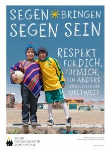 Plakat zur Aktion Dreikoenigssingen 2016. Die Jungen Cristobal und Ronald aus El Alto in Bolivien besuchen die Palliri-Fussballschule.